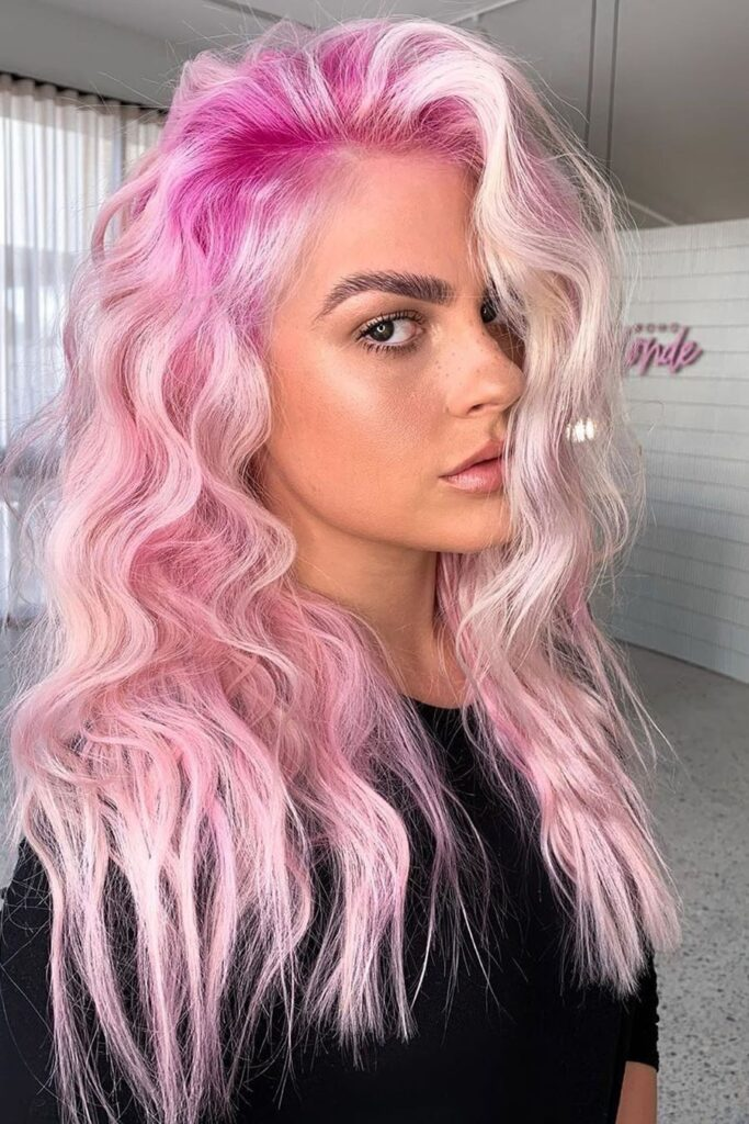 pink blonde hairstyle