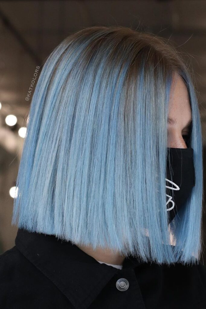 blue short hairstyle