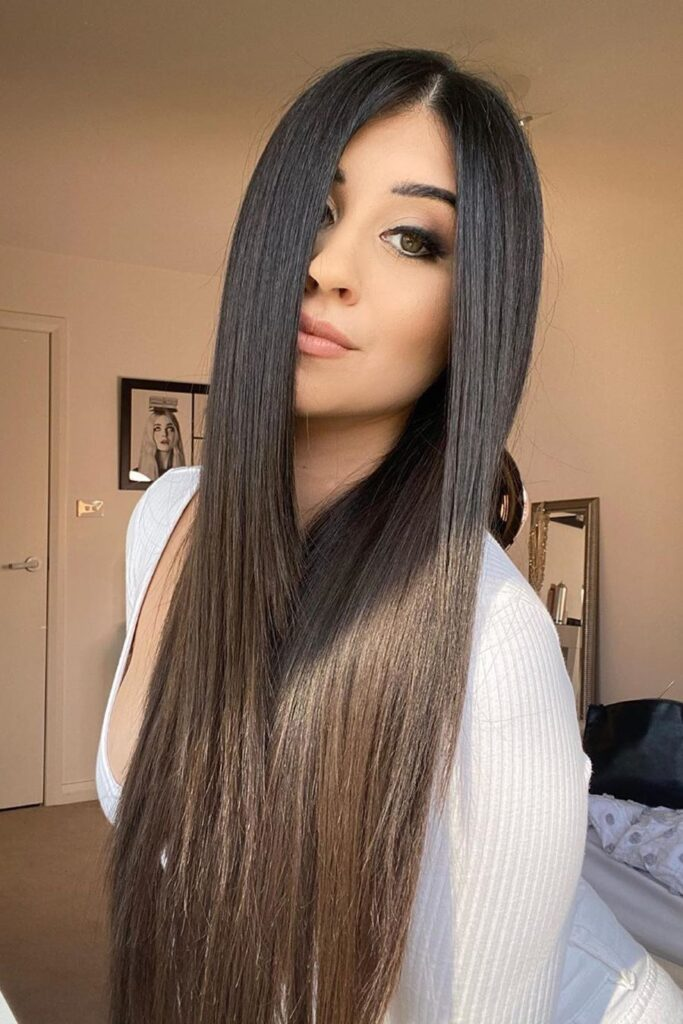 long straight black hairstyle