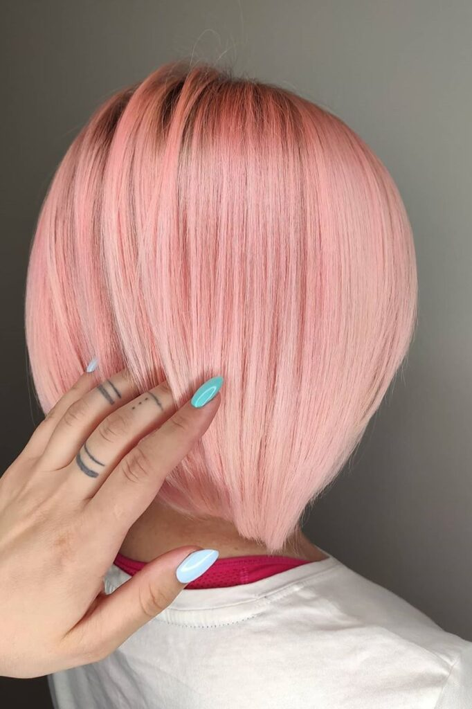 short pink hairstyle