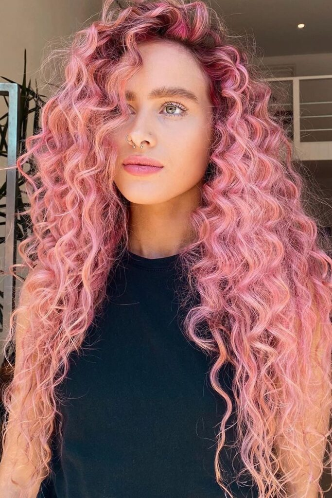 long curly pink hair color