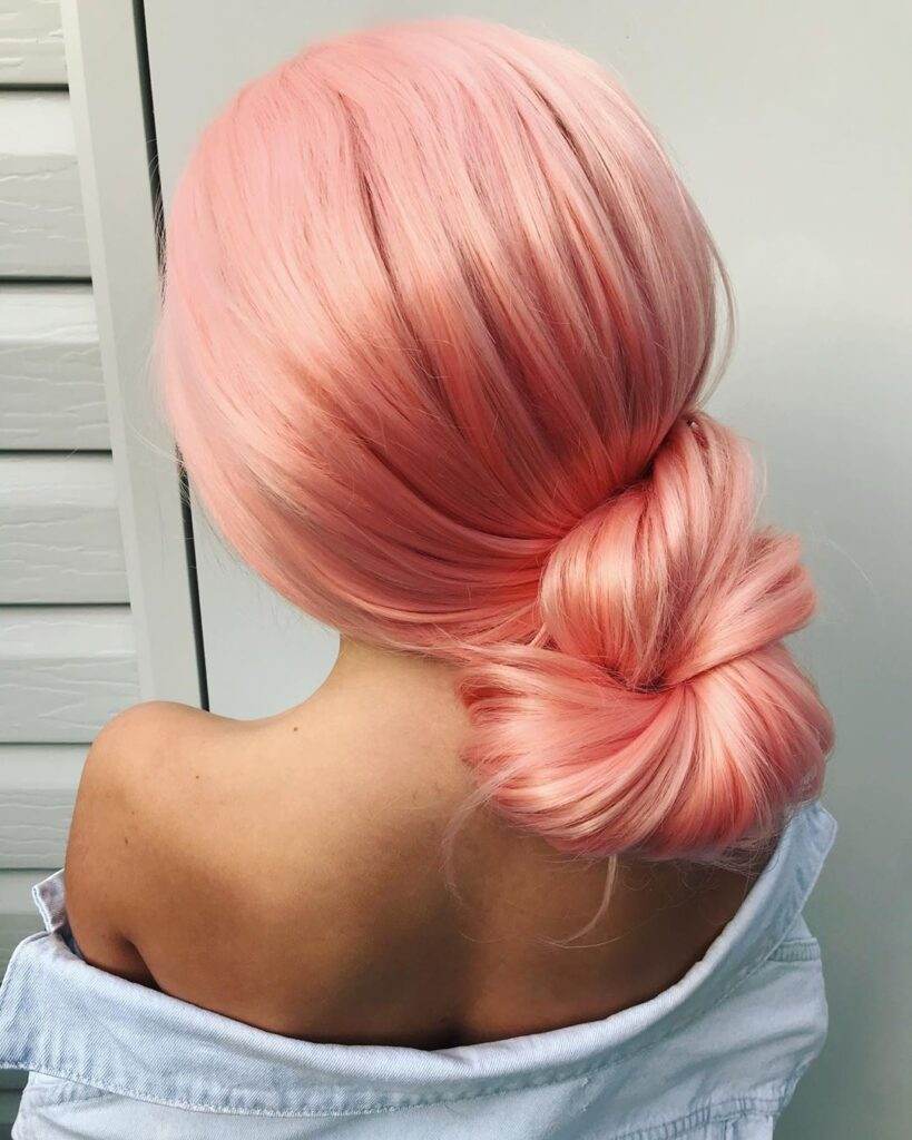 long pink orange thick hairstyle