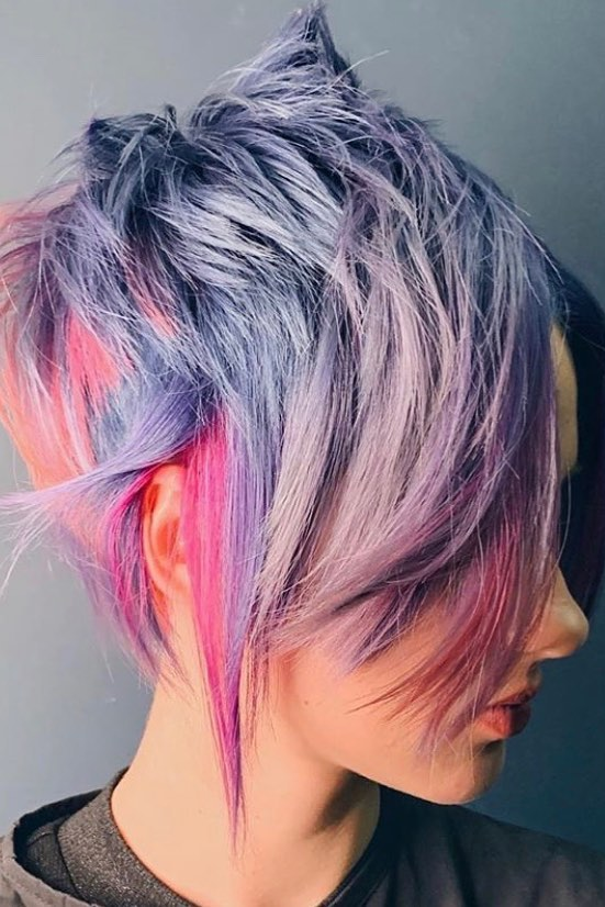 purple and pink blonde hairstyle