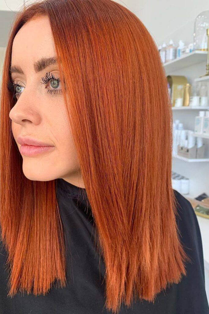 straight red color hairstyle