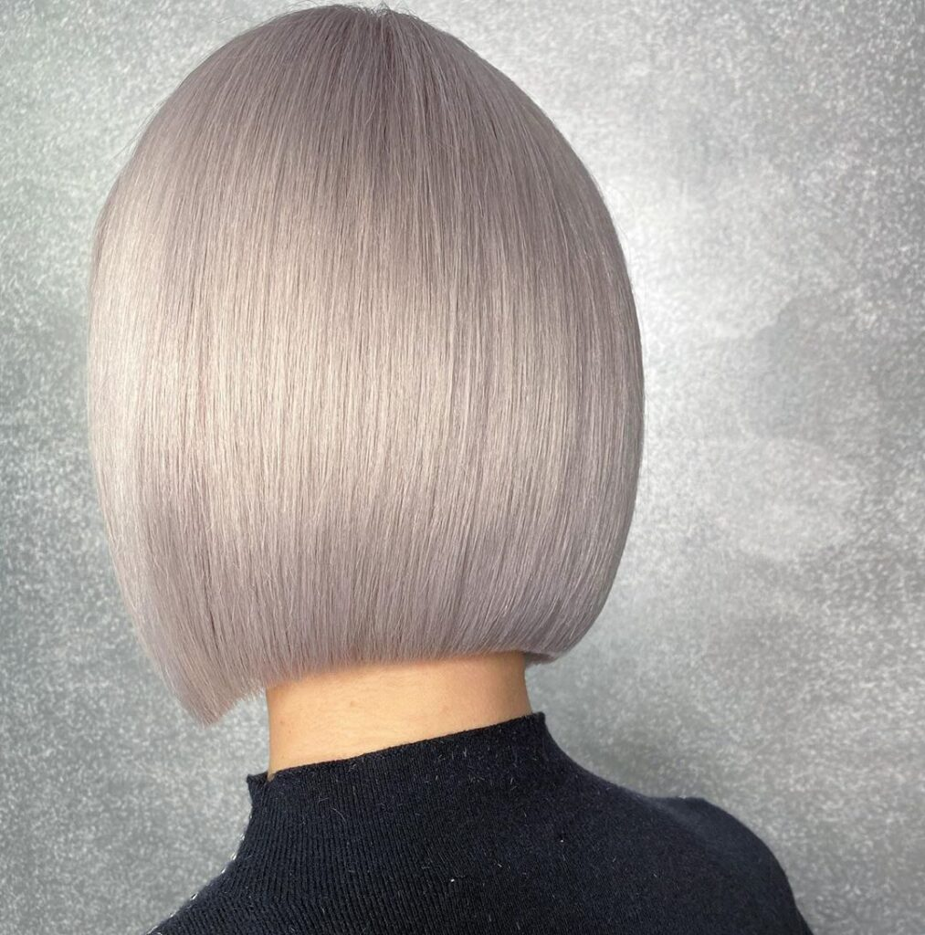 gray straight bob hairstyle