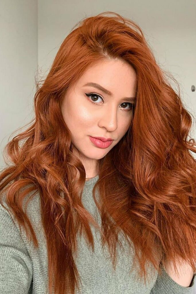 long choppy red hairstyle
