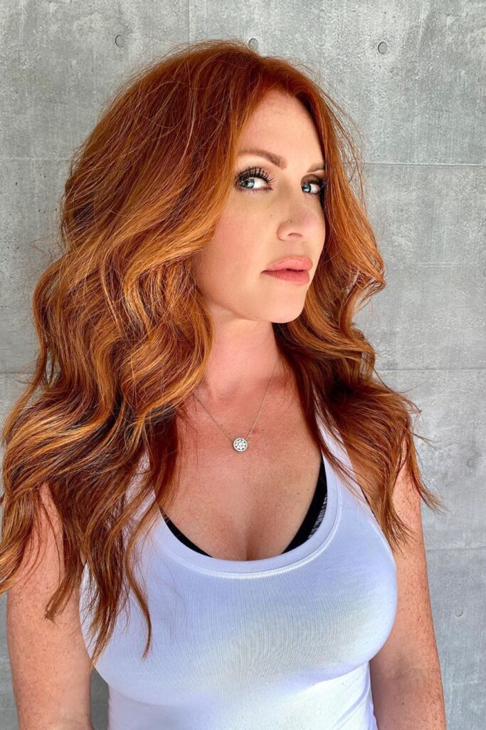 long thick wavy red hairstyle