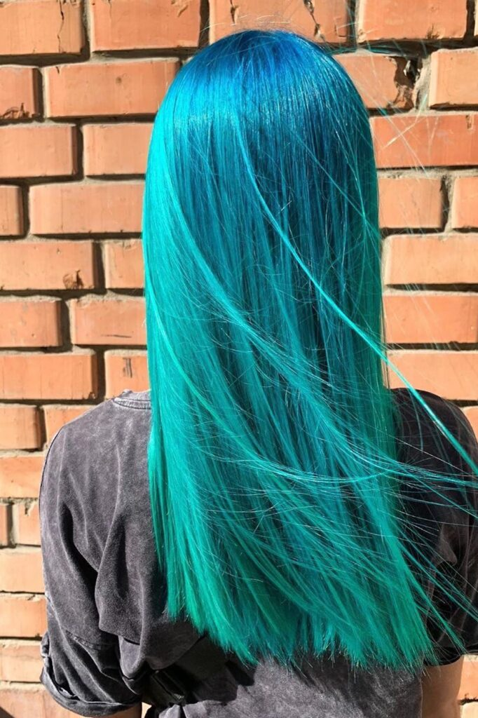 long blue-green hairstyle
