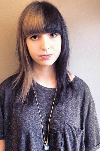 two color bangs hair