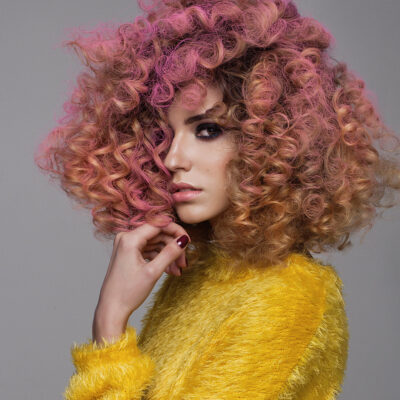 curly messy pink hairstyle
