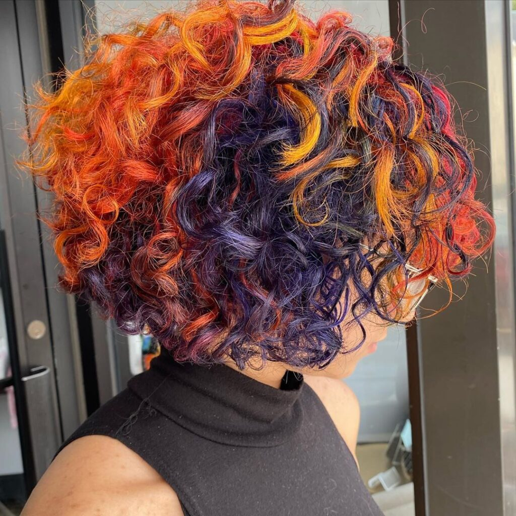 colored short curly hair