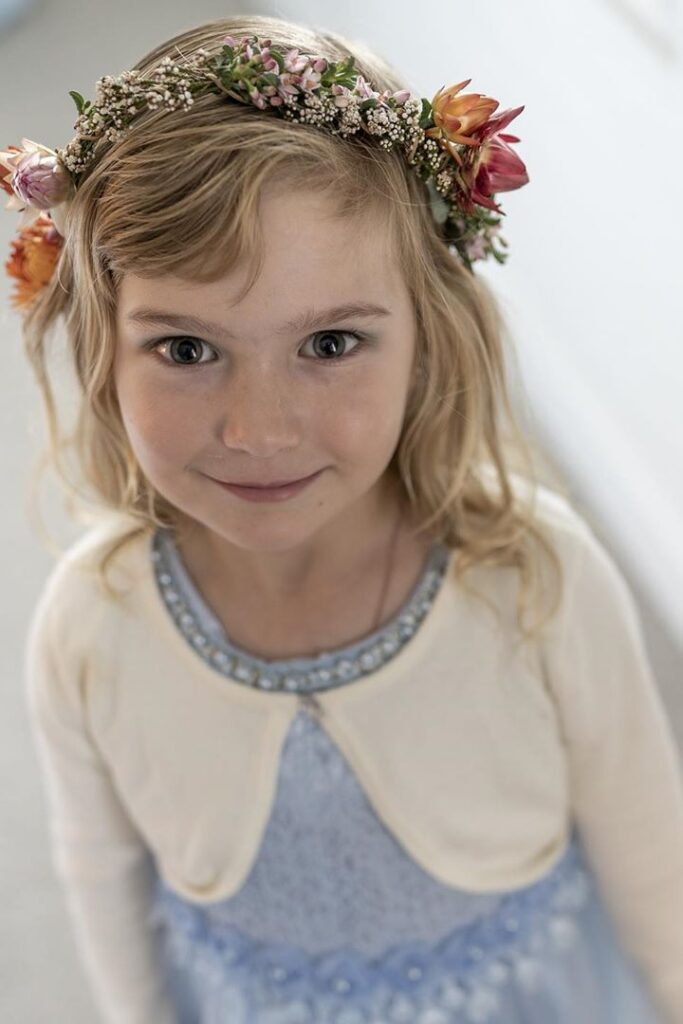 Flower Girl Hair with Bangs and Crowns