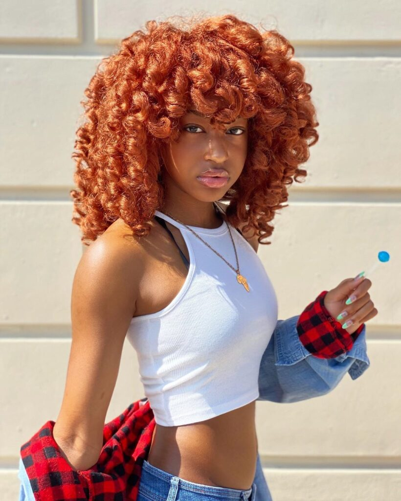 curly red hairstyle