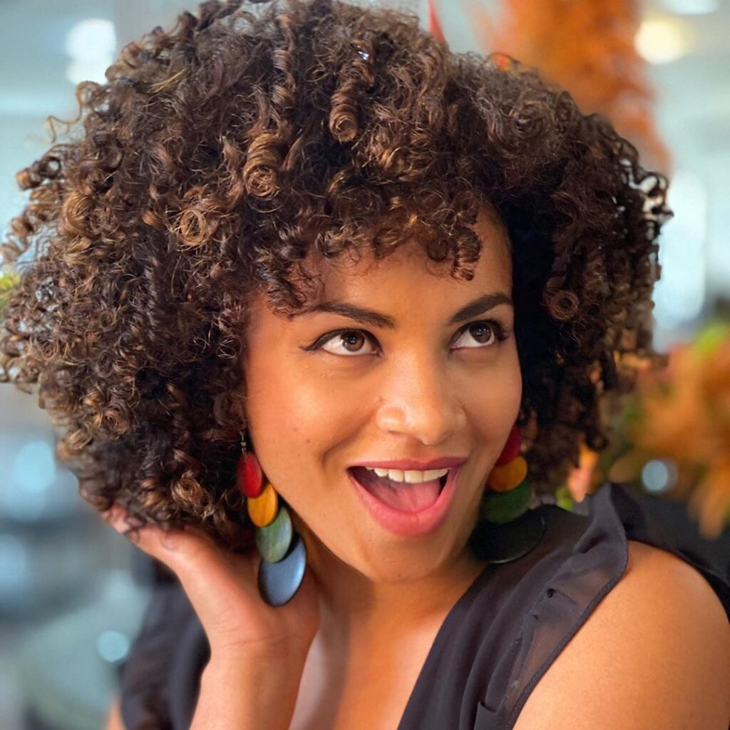 curly messy black hairstyle