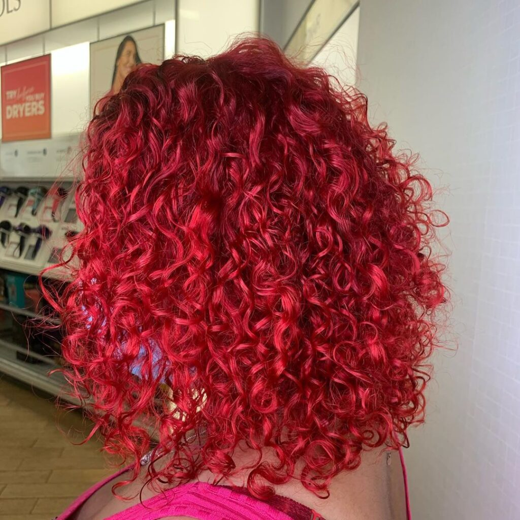 Red Balayage and Perm