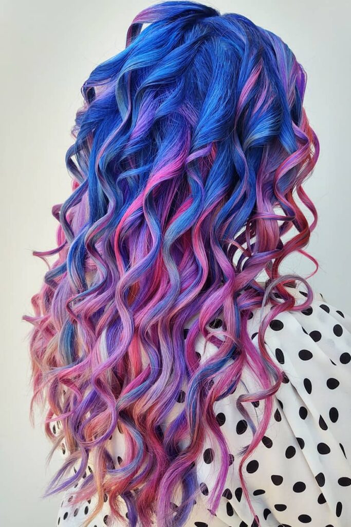 A deep blue hair with purple and pink ends