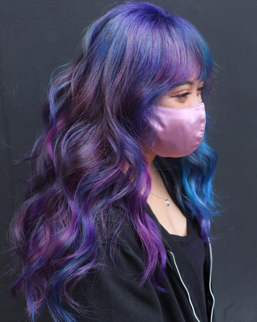 Ombre hair dyed blue