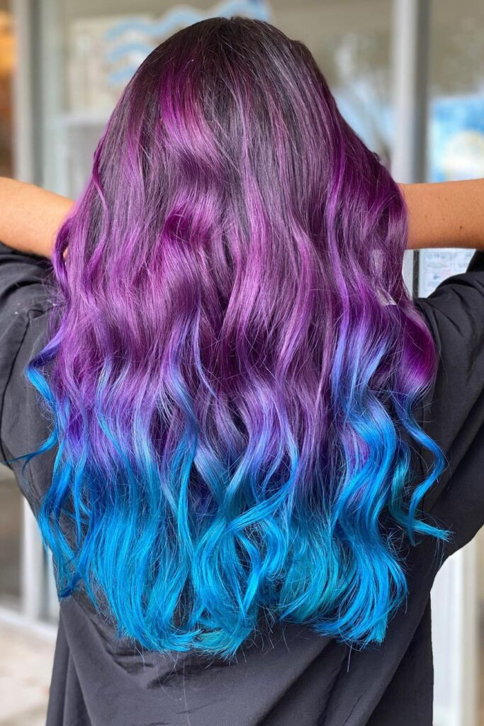 Purple to blue ombre hairstyle
