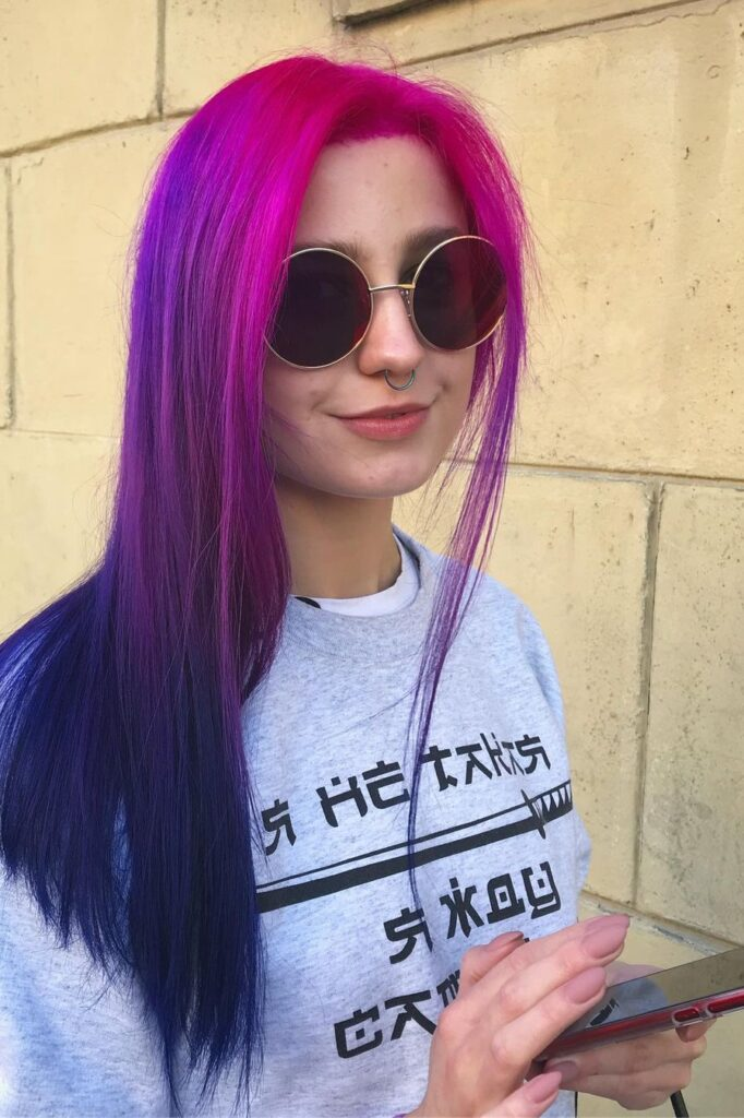 Transition from Pink to Blue Hair