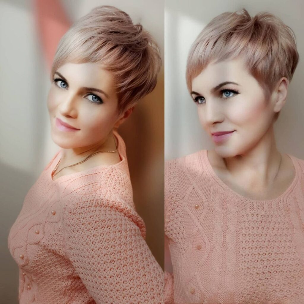 Short pixie hair on the sides