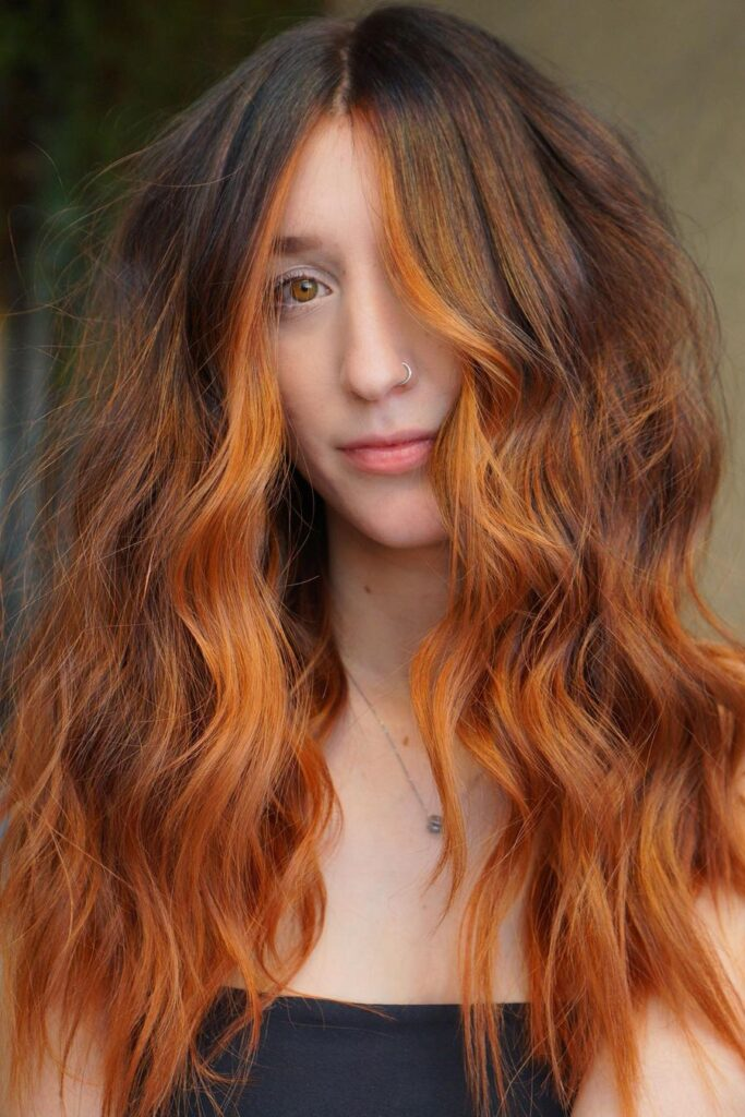 Long copper ombre hairstyle