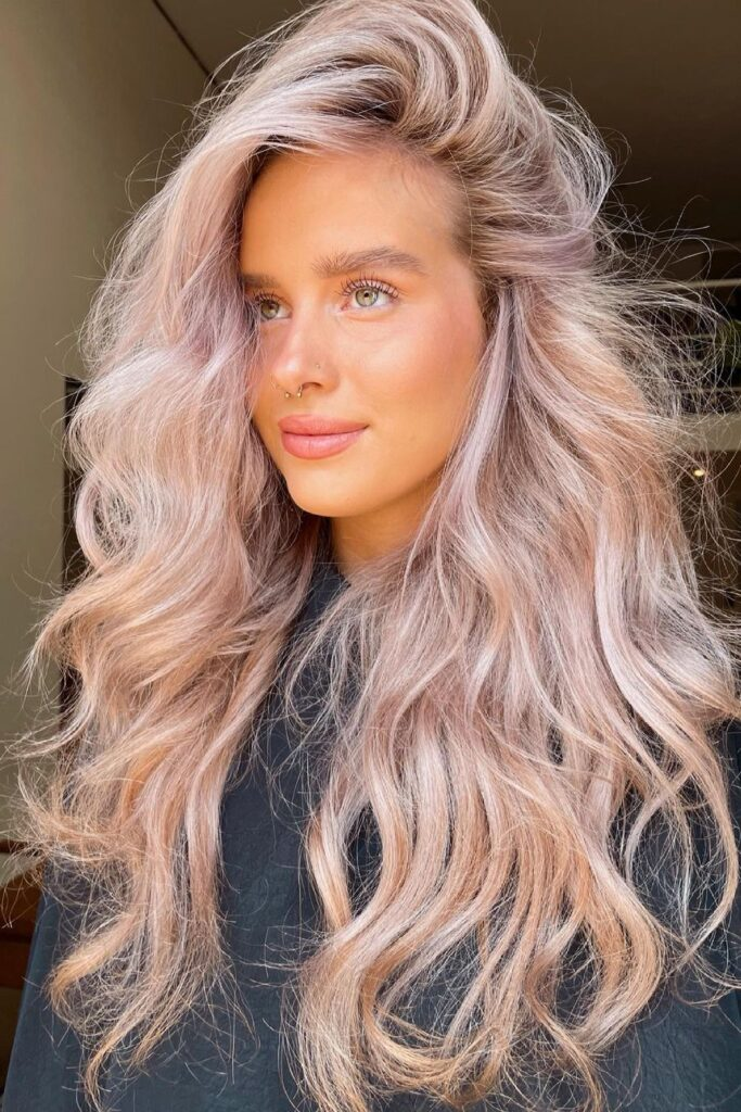 Long pastel wavy ombre hairstyle