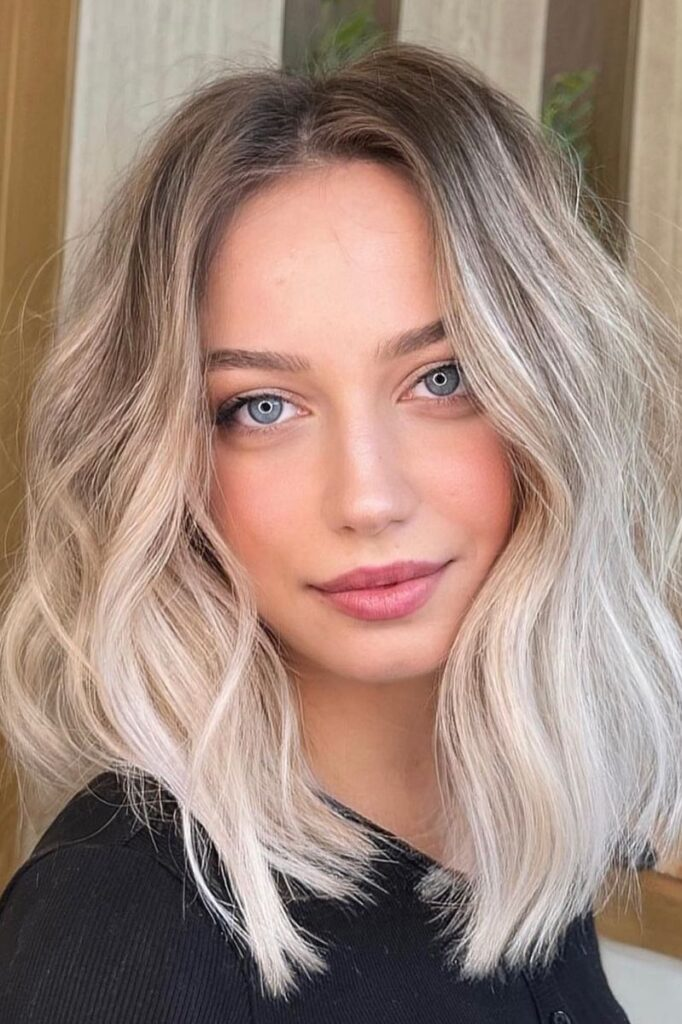 medium blonde ombre hairstyle